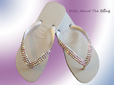 455c1f1d2 Havaianas Flip Flops With Swarovski Ab Iridescent Crystals Wedding Bride