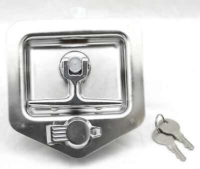 T-lock assembly stainless steel 2 keys 4 mounting studs for Peterbilt tool boxes