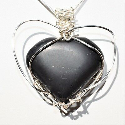 "CHARGED REIKI Wrapped Black Onyx Heart Perfect Pendant™ + 20"" Chain"
