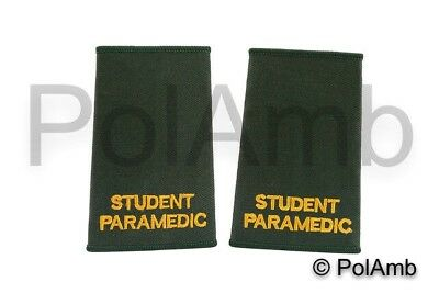 STUDENT PARAMEDIC Slider Epaulettes (Green) for Paramedic, University, Trainees