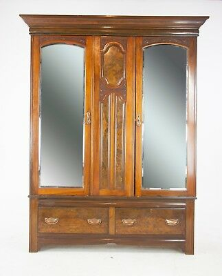 Antique Furniture Armoire, Victorian Armoire, Carved Walnut Wardrobe, B1229