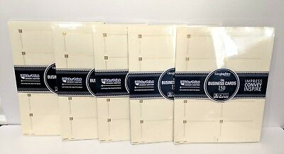 """Lot of 5 Geographics Capital Business Cards 2x3.5 """" Ivory Gold Foil 750-Cards"""