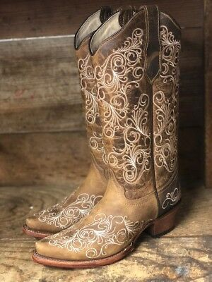 c94b436ae66 CIRCLE G BY Corral Women's Tan Scroll Embroidered Snip Toe Western Boots  L5418