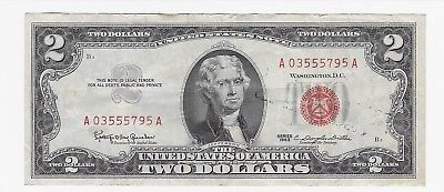 1963 Series-A $2 / Two Dollar Bill Red Seal $2 Two Dollar Bill