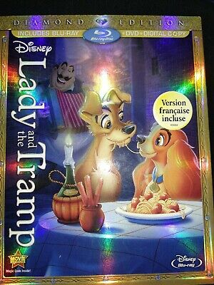 Lady and the Tramp Disney (Blu-ray/DVD, 2012, 3-Disc, Diamond Edition) SLIPCOVER
