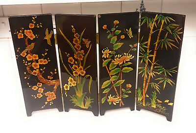 Vintage Japanese Chinese Hand Made Wooden Folding Table Screen Black Lacquered