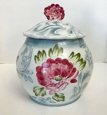 """Rosalace by Jay Import 10"""" Red/Pink Flowers, Blue Vines, Scalloped Cookie Jar"""