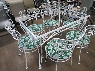 Salterini Wrought Iron Patio Dining Set Daisy Pattern 6 chairs