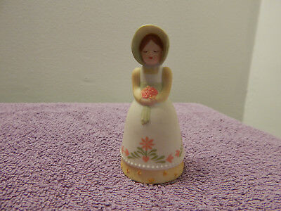 1985 Avon - Painted Porcelain Bell - Country Girl with Bonnet and Flower Bouquet