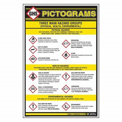 """GHS Safety Wall Pictogram Chart, Chemical/HAZMAT Training [24"""" x 36""""]"""