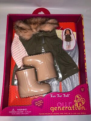 """Our Generation Fun Fur Fall Outfit Set Boots 18"""" Clothes New in Box Free Ship"""