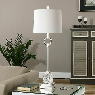"""Mid Century Polished Nickel Metal Cut Glass 34"""" Table Lamp Ivory Linen Shade"""
