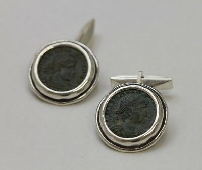 Sterling Silver Cufflinks with Ancient Coins, Roman Bronze - w/Cert 2096