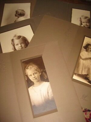 lot of 5 1920's era Vintage B/W Girls Portraits matted Photos Los Angeles, CA