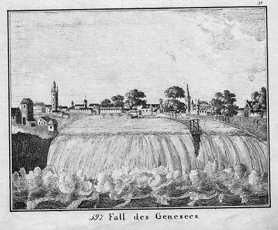 1830 - High Falls Rochester Genesee River New York Lithographie lithograph