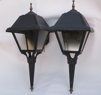 "Vintage Moe Lighting Pair Cast Aluminum Outdoor Porch Light Sconces 21"" Tall"