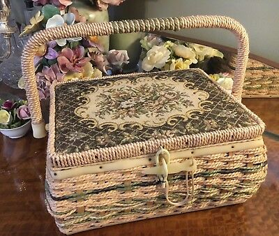 Fabulous Vintage Retro Small Sewing Box Wicker Basket Handle Storage Tapestry