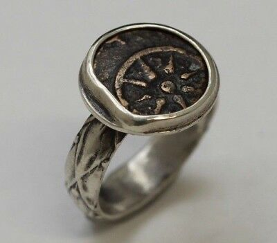 Sterling Silver Ring, Genuine Ancient Coin Judaea (Widows Mite). w/Cert 2014