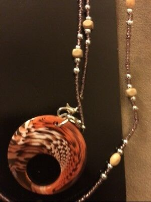 *~New Pretty Georgio Caponi Multi Brown beaded Necklace Eyeglass Holder