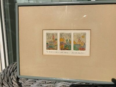 Original Etching Watercolor Painting Signed Danielle Desplan Listed Artist 50/60