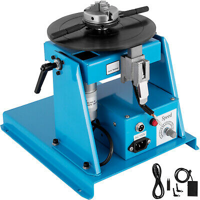 """10kg Rotary Welding Positioner Turntable Mini 2.5"""" 3 Jaw Lathe Chuck + Pedal"""