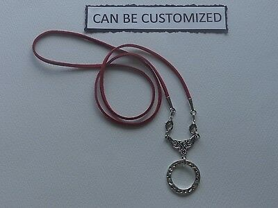 Can Be Customized Red La Loop Leather Suede Cord Eyeglass Holder Necklace Chain