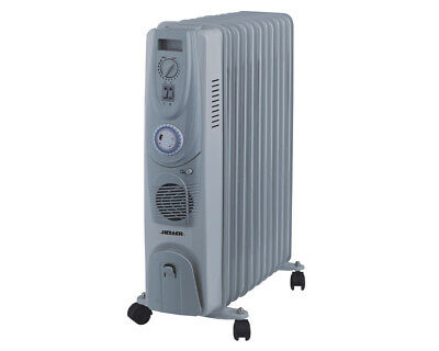 New Heller Oil Heater 11 FIN 2400W with Fan & Timer HOIL11FT Thermostat Grey