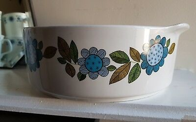 J&G Meakin Studio Topic Serving Dish Tureen Retro Vintage Blue Flower Floral