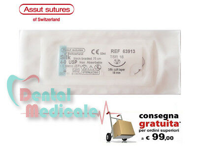 1x SUTURA CHIRURGICA SETA SILK ASSUT SUTURES SWITZERLAND 4-0 TAPER CUTTING 75cm