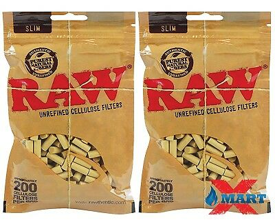 2x RAW Rolling Papers Slim Cellulose Filters Fit 6mm 200 Cigarette Tips Per Bag