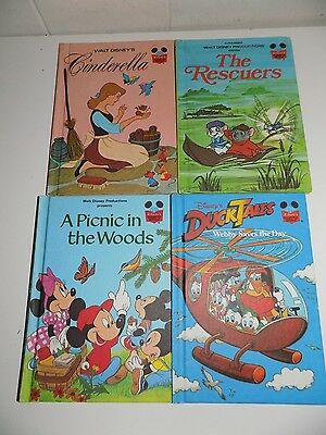 Vintage Disney Wonderful World of Reading 4 Books Cinderella DuckTales Rescuers