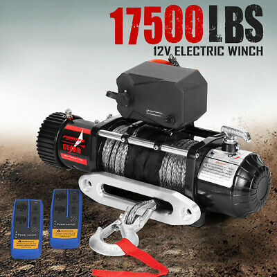 12V Wireless Electric Winch 17500LBS / 7938Kg Synthetic 26M Rope 4WD 12Volt