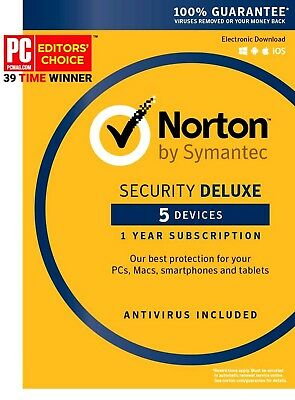 2x Norton Internet Security Deluxe Antivirus 1 Year 5 Devices Win Mac Android