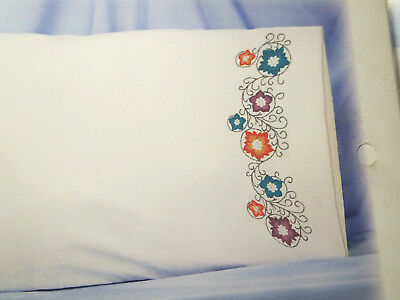 Duftin White Percale Pillowcases(2) Pre-stamped Embroidery Flower Bursts