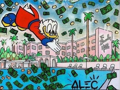 Alec Monopoly Graffiti Handcraft HUGE Oil Painting on Canvas Money Pool 24x32