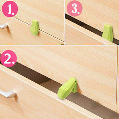 4x Plastic Kid Baby Safety Lock Protection for Door Cupboard Cabinet Drawer GS