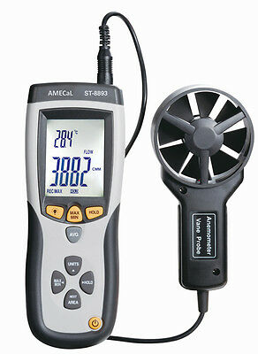 AMECaL ST-8893 CMM/CFM Thermo-Anemometer Equiv: Wind Speed Gauge, Air Flow