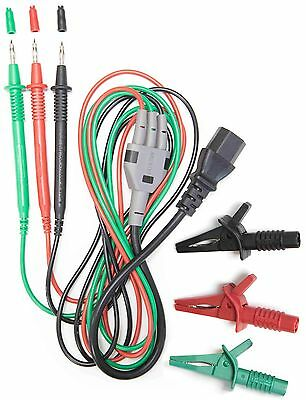 AMECaL TL-112-C IEC Lead with 3 Probes, Croc Clips for Fluke, Robin