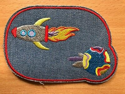 1 Embroidery Clothing Iron-On Jeans Knee Patch, Rocket, Jeans