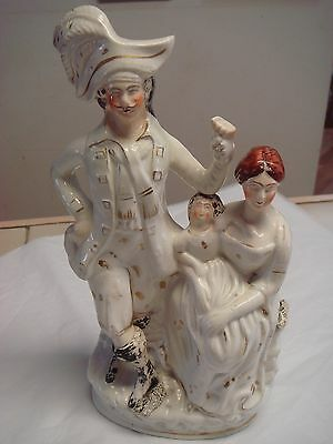 Victorian Staffordshire Pottery male and female flat back figurine 10 inch tall