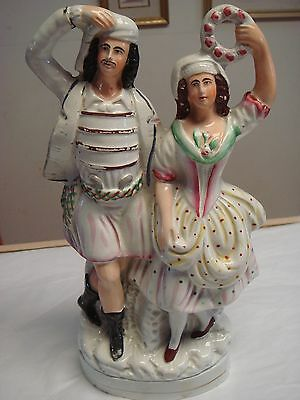 "Victorian Staffordshire Pottery male and female flat back figurine 11.50 "" tall"