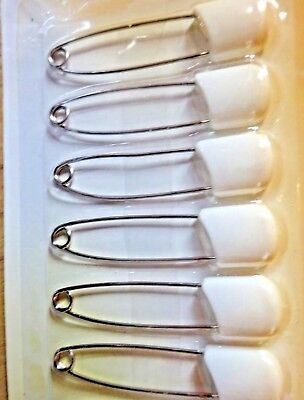 6 Pack Large Nappy Pins Terry Nappies Pin Baby Diaper White Fasteners