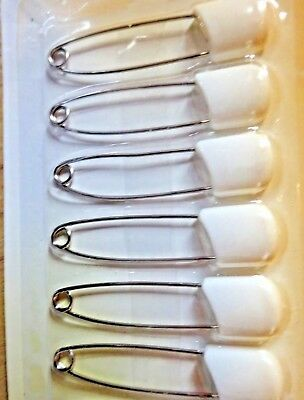 6 Pack Large Nappy Pins Terry Nappies Safety Pin Baby Diaper White Fasteners