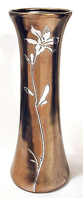 "Antique Arts & Crafts  HEINTZ BRONZE AND STERLING VASE   12"" x 4.5"""
