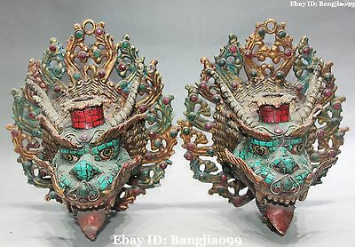 """8"""" Old Chinese Bronze Turquoise Coral Dragon Head Beast Masks Vizard Mask Pair"""
