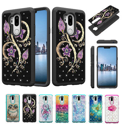 Luxury Bling diamond Crystal Two in one Painted PC+TPU Case Cover For Cell Phone