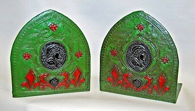 Antique Mission Arts & Crafts Tooled Leather Green Dante Italy Bust Bookends