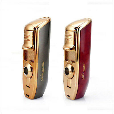 2PCS Triple Jet Flame Cigarette Butane Torch Windproof Jobon Lighter (with Box)