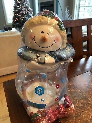 RARE HTF SNOWMAN COOKIE JAR W/CLEAR GLASS BOTTOM New Sealed Red Birds Christmas