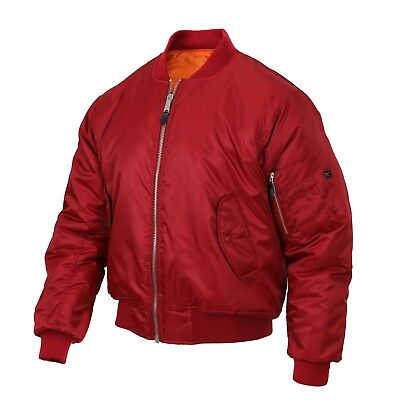 MA-1 Style Flight Jacket Firefighter US Navy USMC Fire Rescue EMS EMT Bomber RED
